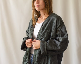 Vintage Black Liner Jacket | Quilted Nylon Coat | Wavy Liner Layer |