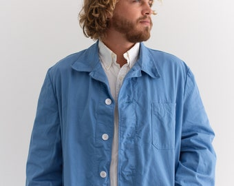 Vintage Sky Blue Chore Jacket | Unisex Navy Blue Cotton Utility Work Coat | L XL |