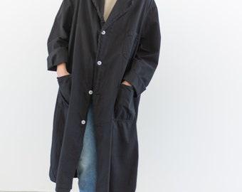Vintage Black Lightweight Shop Jacket | Overdye Utility Duster Coat | Artist Smock | L XL |