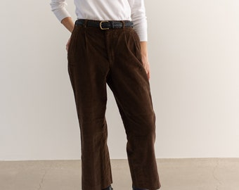 Vintage 31 Waist Brown Corduroy Pleated Trousers | High Rise | Made in USA |