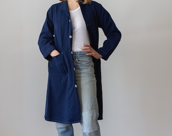 Vintage True Blue Shop Coat | Overdye Chore Trench Jacket | XS S |