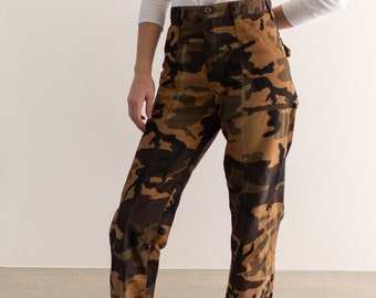 Vintage 28 Waist Camouflage Brown Pants | Cotton Canvas Tan Fatigues | Military Camo |