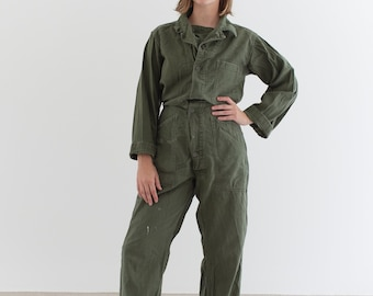 Vintage Olive Green Coverall | Green Army Jumpsuit | Flight Suit Studio Ceramic | Boilersuit | J013