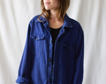 Vintage Navy Blue Work Jacket | Faded Blue Contrast stitch Two Pocket Italy Coat | M | IT007