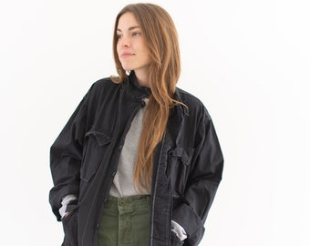 Vintage Overdye Black Jungle Jacket | Cotton Ripstop Safari Button up Coat | L XL