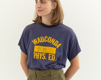 Vintage 70s Wauconda Gym T Shirt | Purple Yellow Logo Tee Shirt | Graphic | Made in USA | S