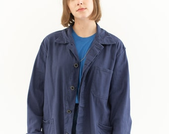 Vintage Blue Chore Coat | Unisex Cotton Military Utility Work Jacket | Made in Italy | M L | IT094