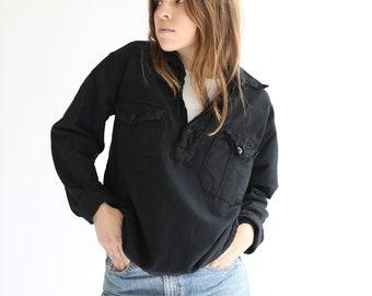 Vintage Black Overdye Popover Shirt | Cotton Long sleeve Denim Pullover |