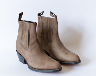 Size 9-9.5 | Vintage Deadstock 80s Western Boot | Brown Suede Chelsea Boots |