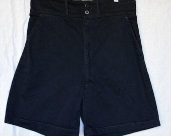 Vintage 30 Waist Black Cotton Drill Shorts | High Rise Workwear | BS12