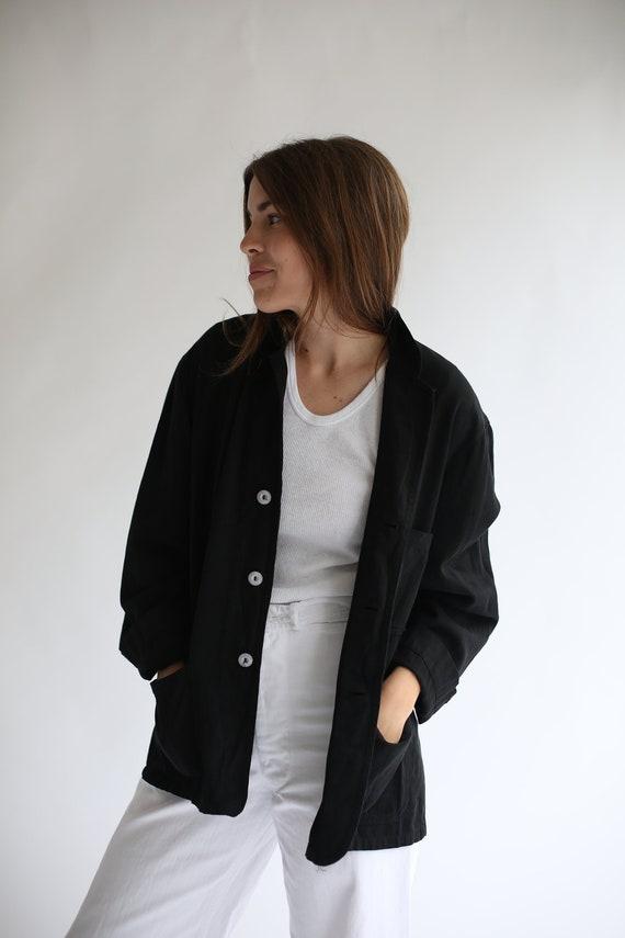 Vintage Black Overdye Classic Chore Jacket   Unise