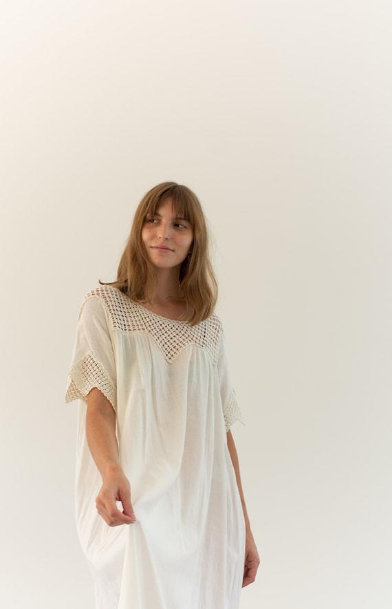 Vintage White Cotton Crochet Dress | Antique Whit… - image 3