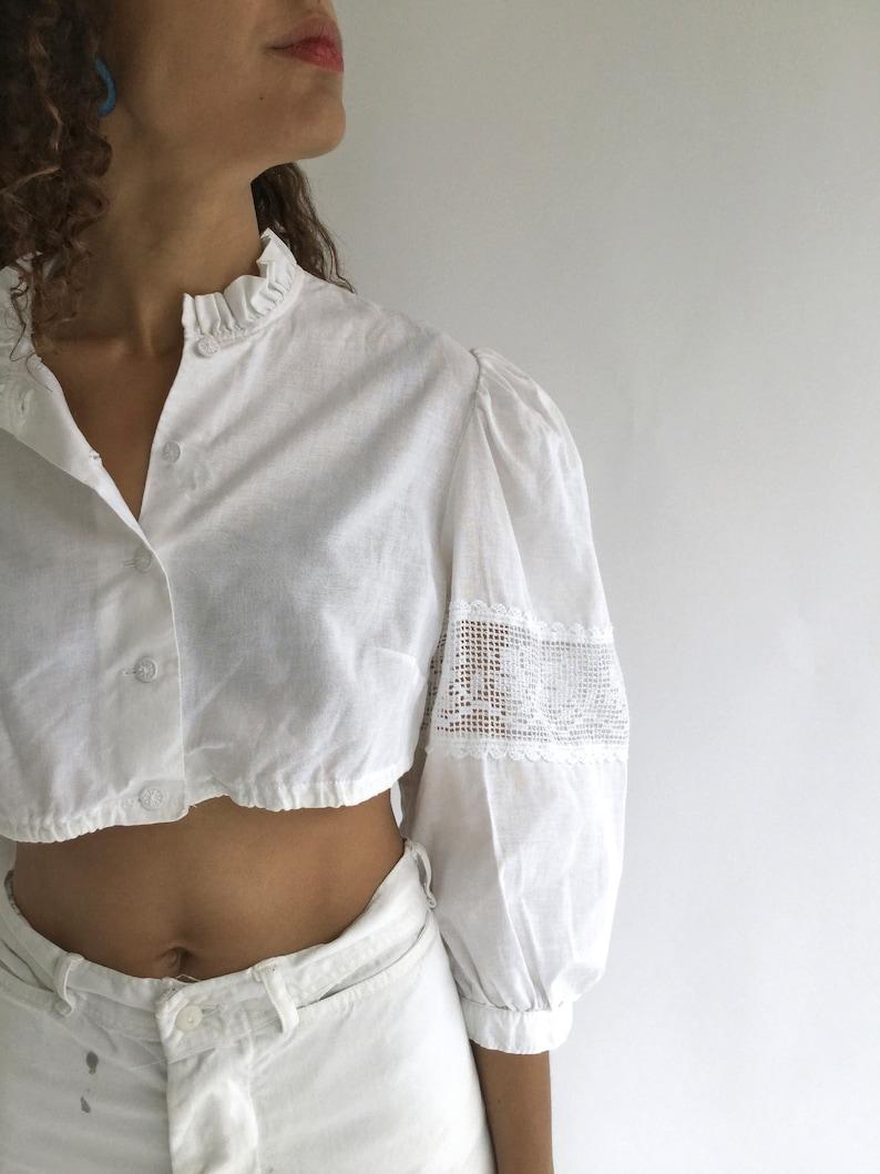4696a0d39a5f3 Vintage White Linen Cotton Puff Sleeve Shirt Crop top Folk