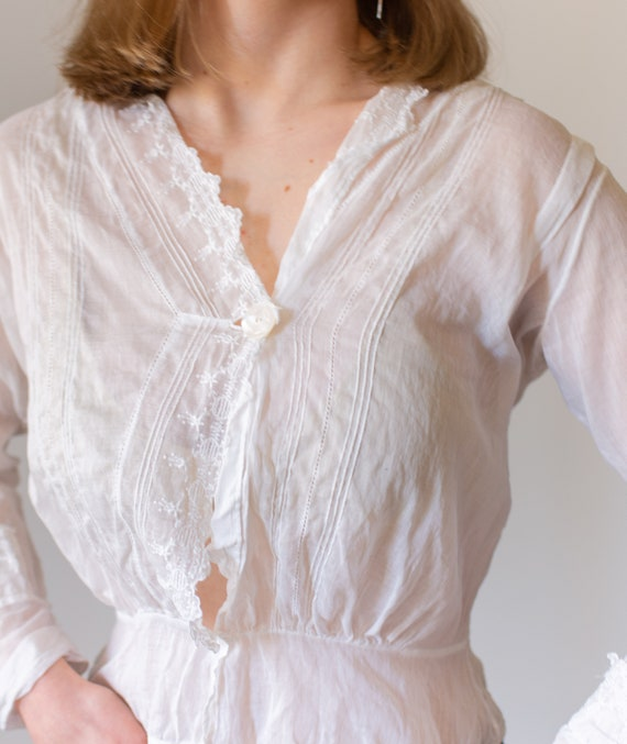 Vintage Victorian White Cotton Blouse | Eyelet Wh… - image 7