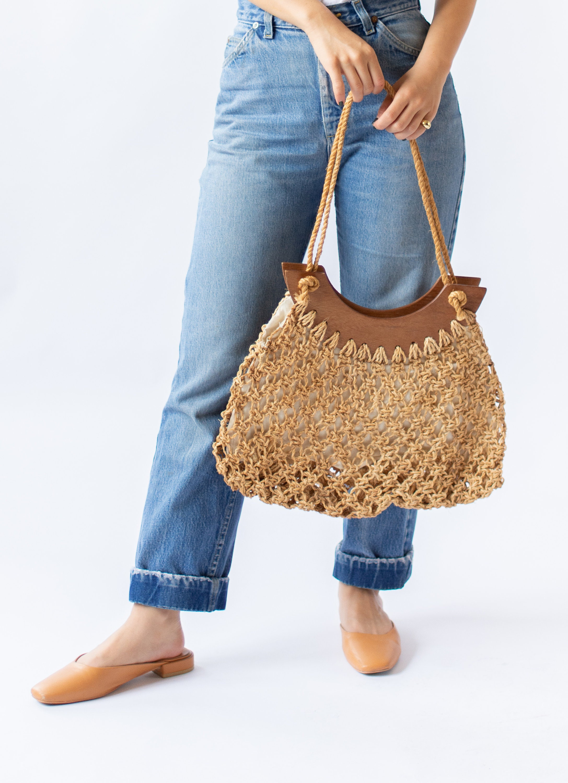 Vintage Woven Straw Hemp Bag Macrame Rope Bag Bohemian Fisherman Hand Bag Vintage Summer Handbag Market Bag Rope Woven