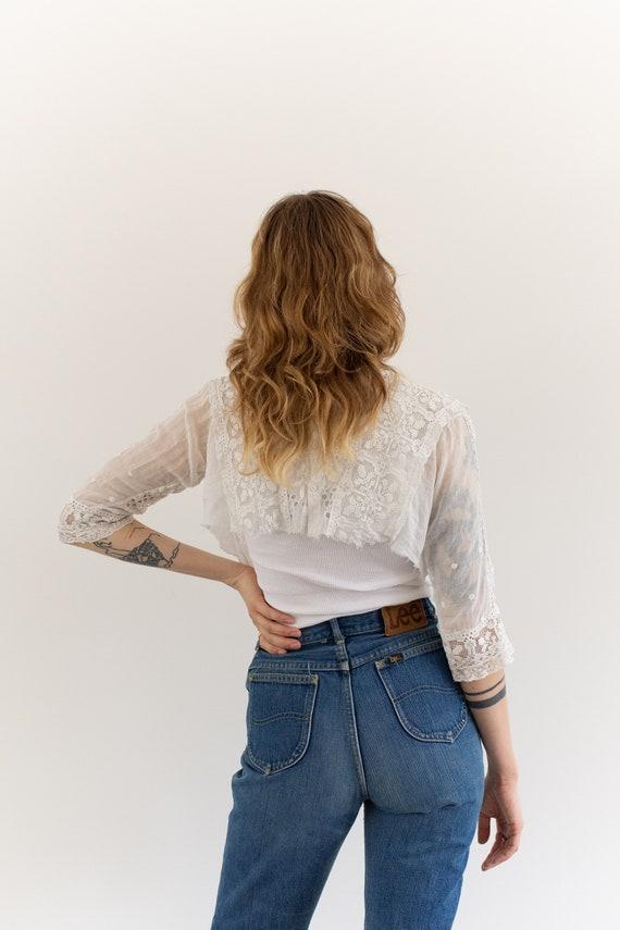 Vintage Victorian White Cotton Cropped Blouse | E… - image 5