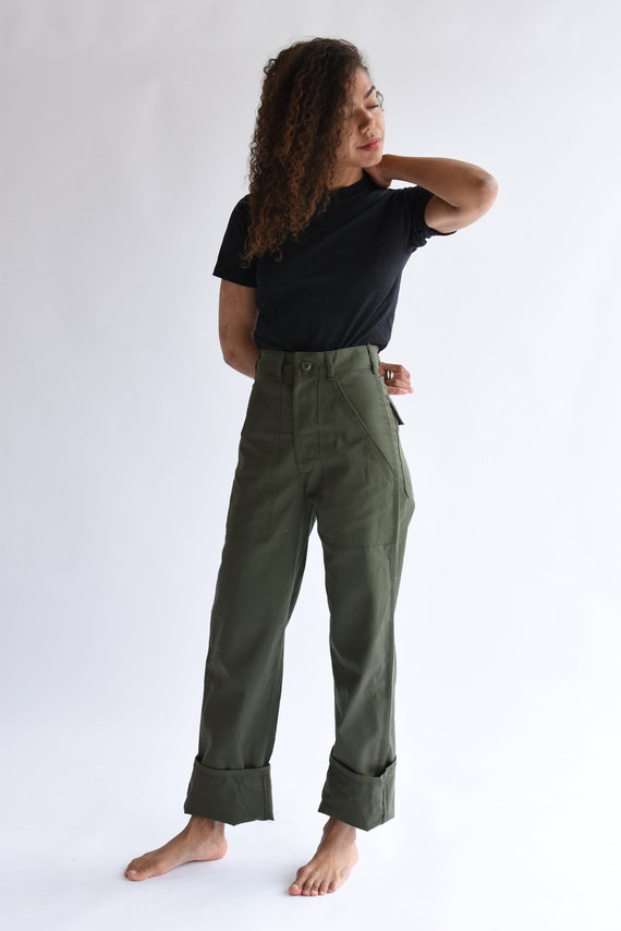 Vintage 24 Waist Army High Waist Pants Petite Cotton Poly | Etsy