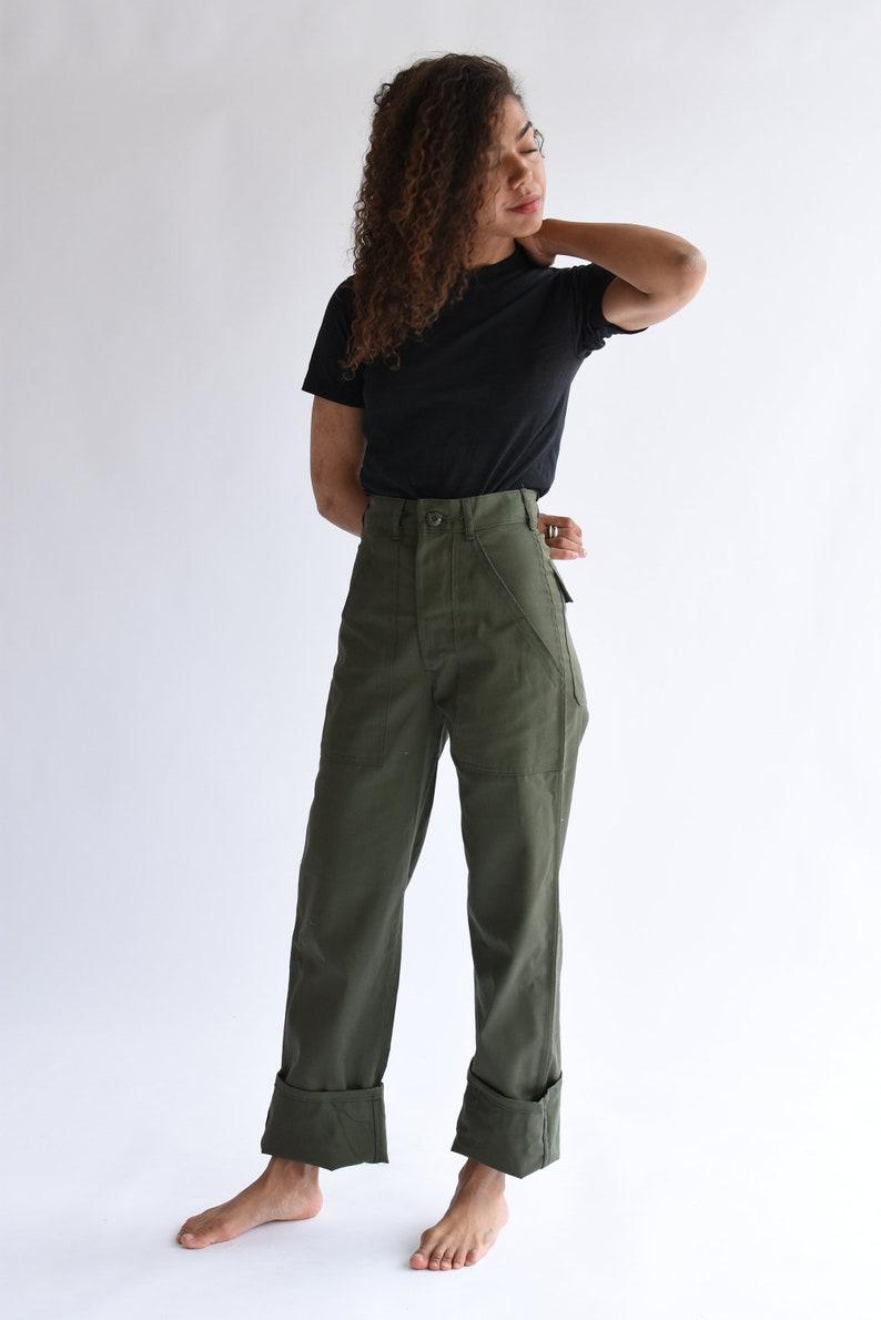 5f5dead806 Vintage 24 25 Waist Army High Waist Pants PETITE Cotton Poly | Etsy