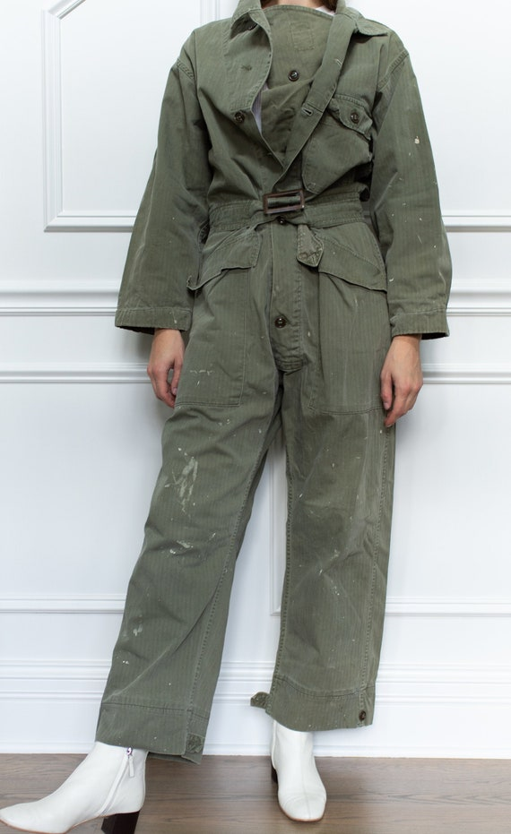 Vintage Green Herringbone Twill Painter Coverall