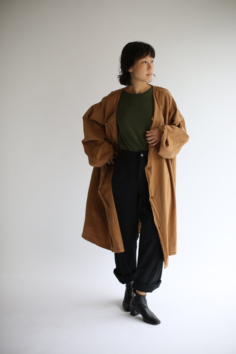 c1693c20ff4 Vintage Almond Brown Overdye Duster Coat Brown Large Wide