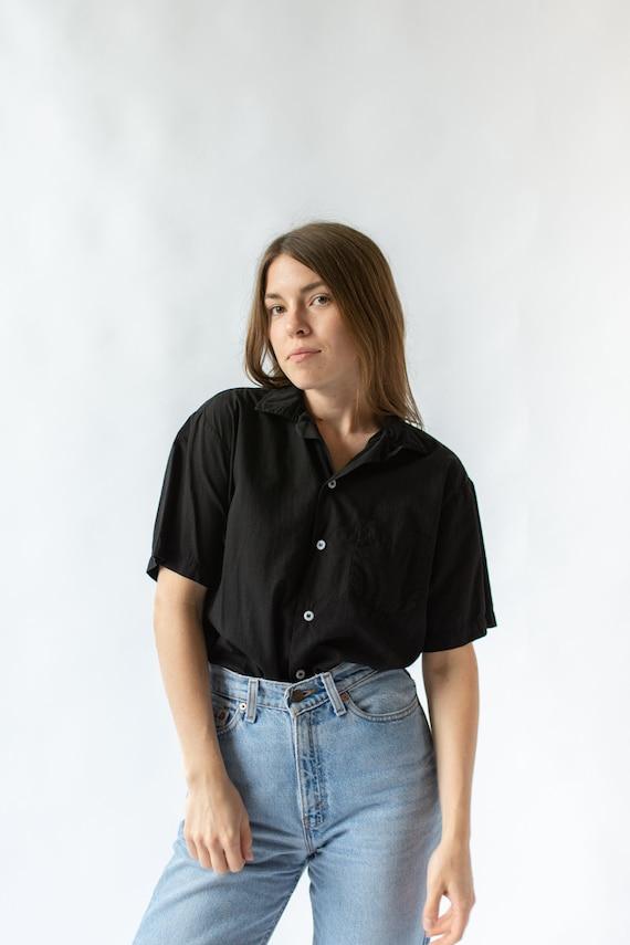 Vintage Black Short Sleeve Loop Collar Shirt | Sim