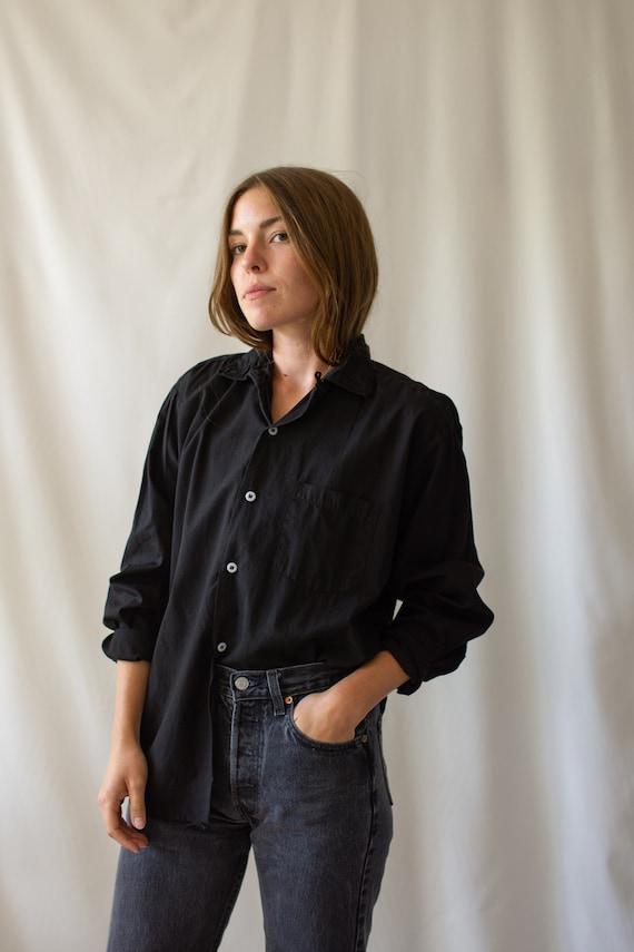 Vintage Black Long Sleeve Loop Collar Shirt | Simp