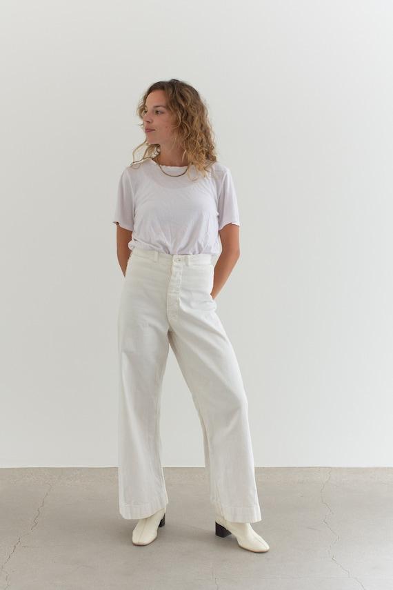 Vintage 26 Waist White Sailor Pant | High Rise But