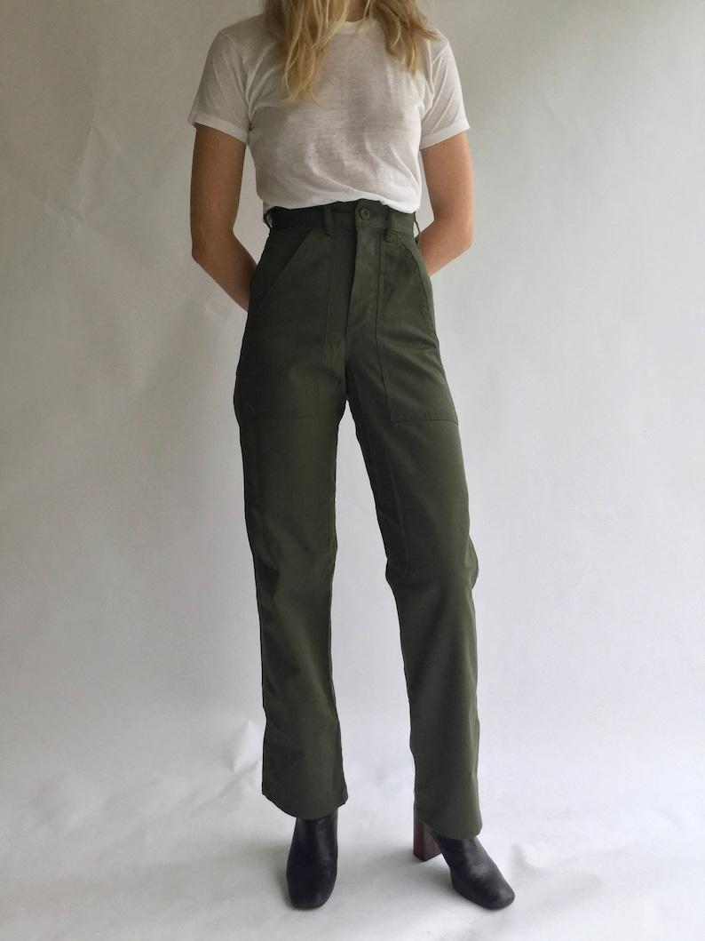f217c2f97f Vintage 24 25 Waist Army Pants PETITE Cotton Poly Utility | Etsy