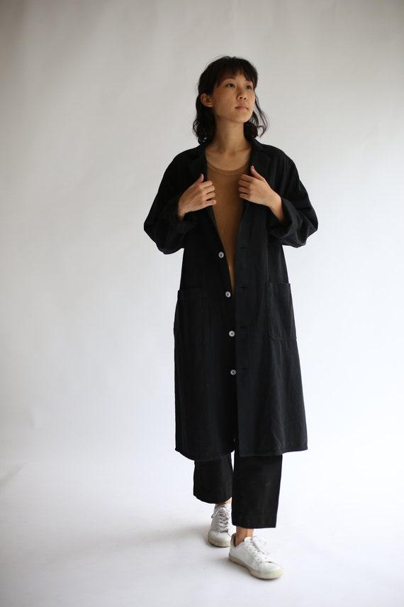 Vintage Black Overdye Shop Jacket | Utility Duster