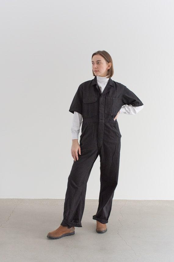 Vintage Overdye Short Sleeve Black Coverall | Herr