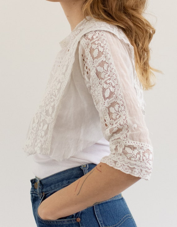 Vintage Victorian White Cotton Cropped Blouse | E… - image 4