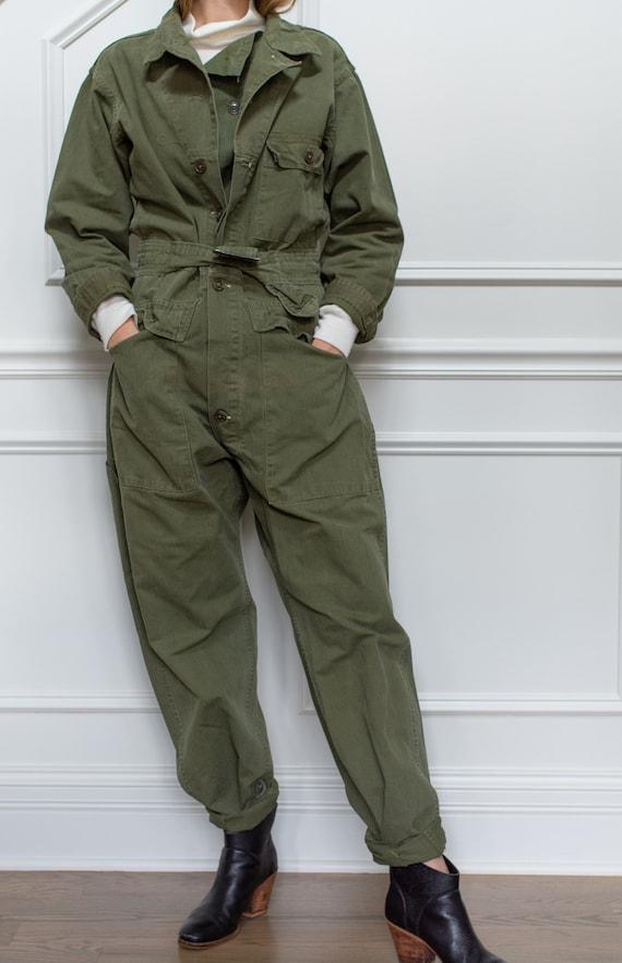 Vintage Green Herringbone Twill Coverall  | Green