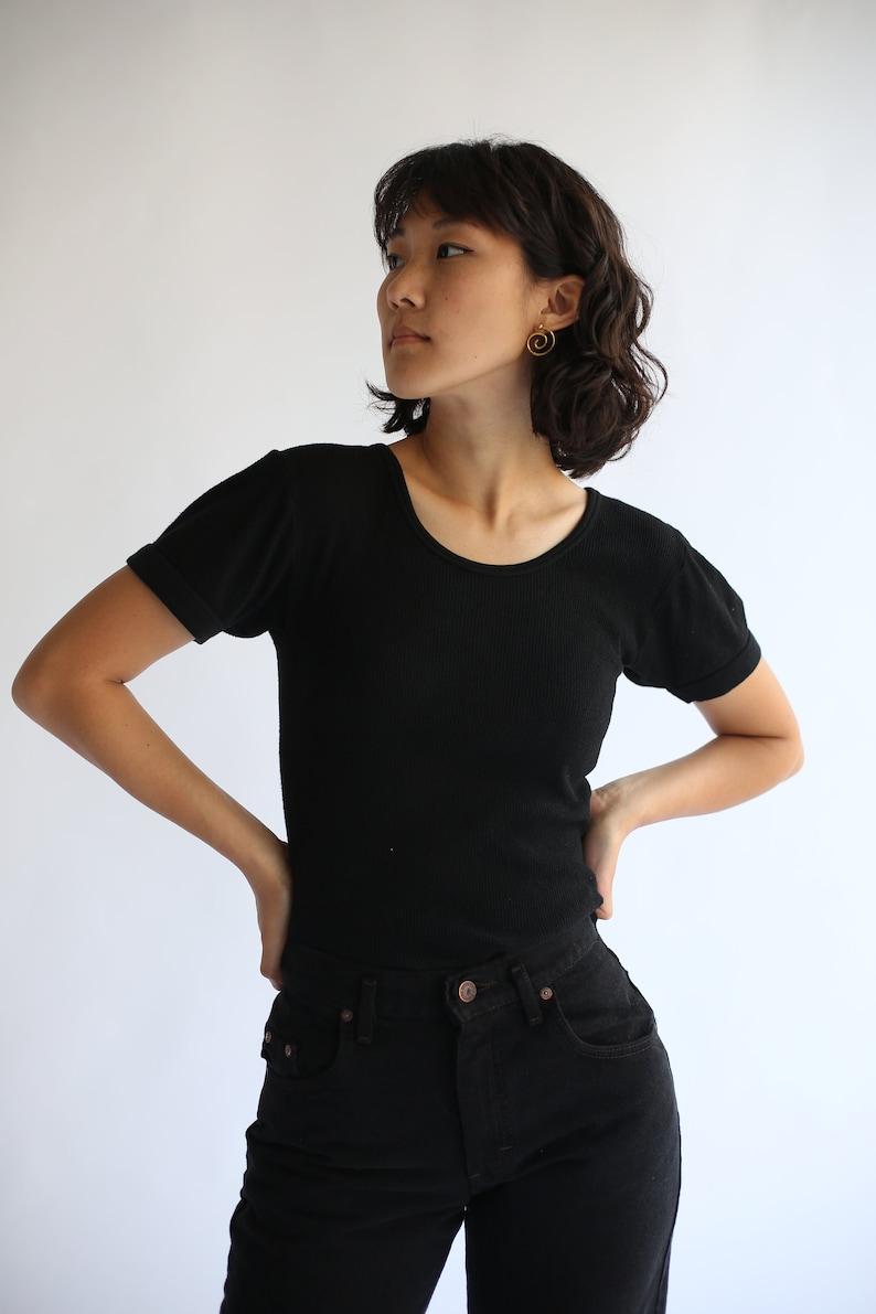 The Berlin Tee in Black  Vintage Ribbed Tee T Shirt  Rib image 0
