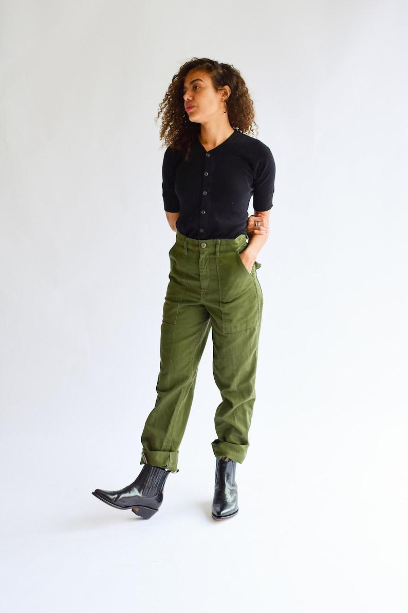 ee7f1a48b0 Vintage 27 Waist Army High Waist Pants Cotton Utility Pant | Etsy