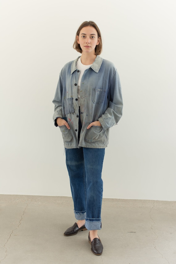 Vintage Blue French Workwear Chore Coat | Cotton P