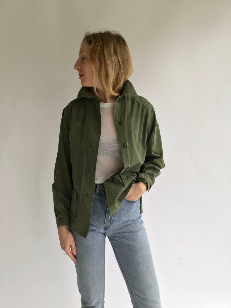 Vintage Olive Green Shirt Army Jacket Green Cotton Ripstop Button Up