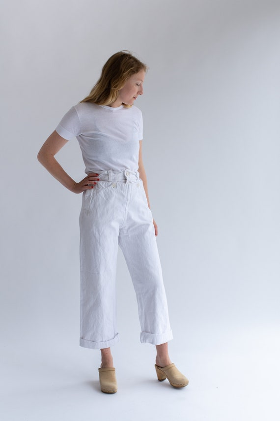 Vintage White Denim Broadfall Trousers | High Wais