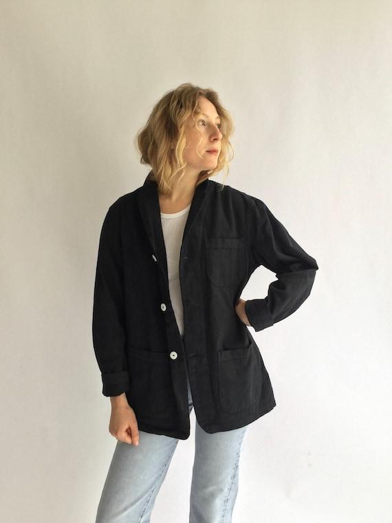 Vintage Black Overdye Chore Jacket | Round Three P