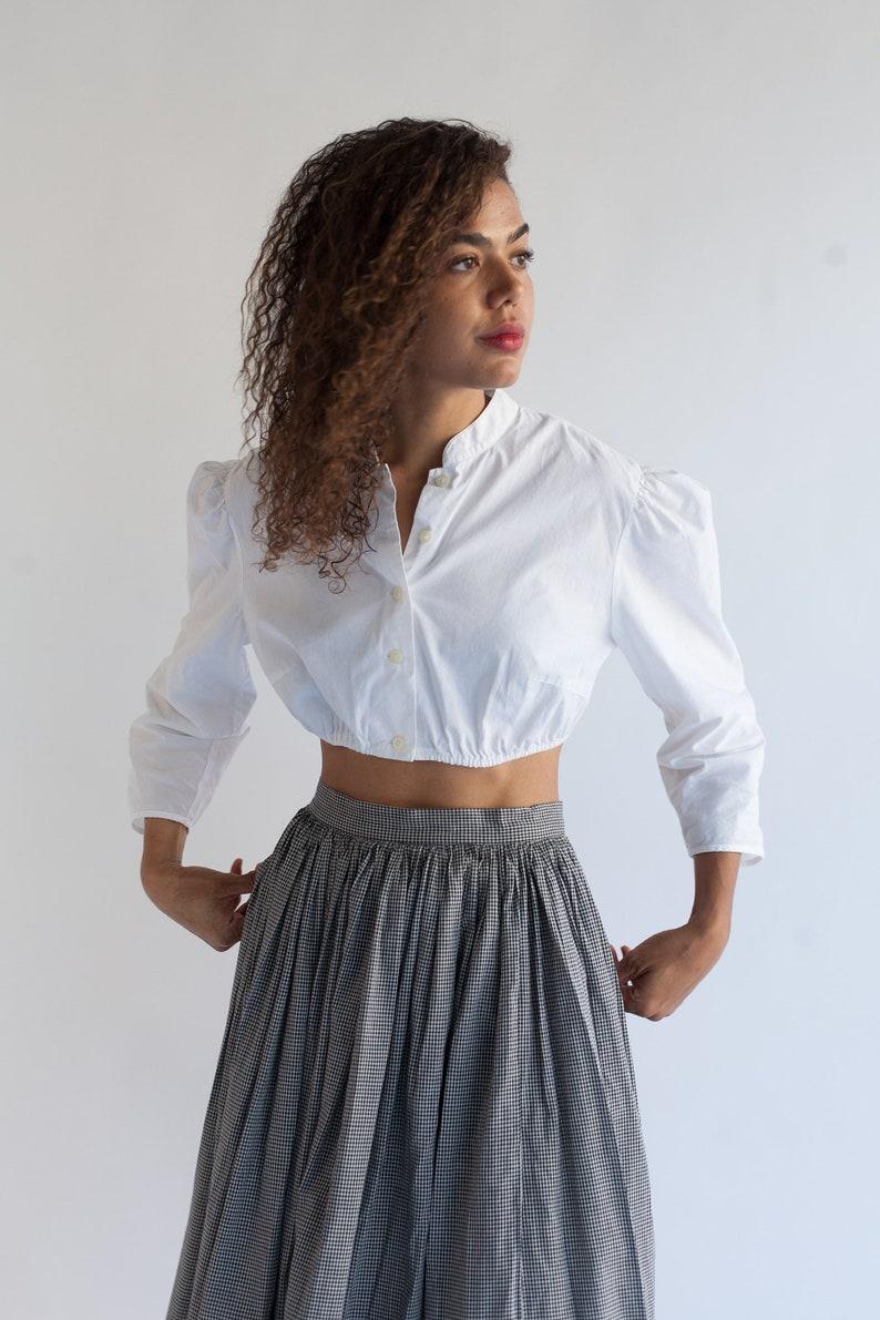 d70586af765 Vintage White Cotton Puff Sleeve Shirt Simple Crop Folk