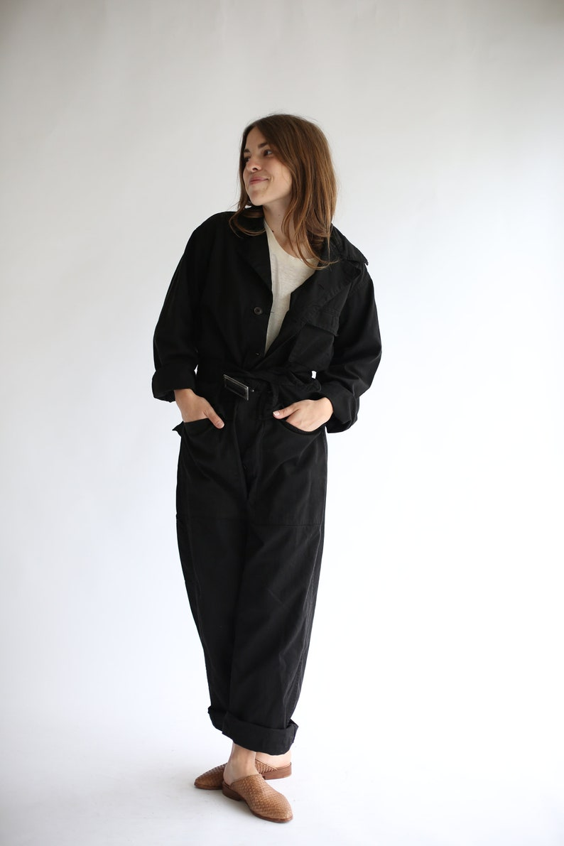a78316035a41 Vintage Overdye Black Belted Coverall Herringbone Twill Jump