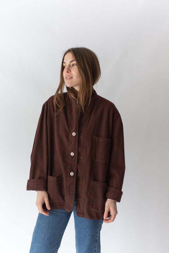 Vintage Hickory Brown Overdye Chore Jacket   Dark