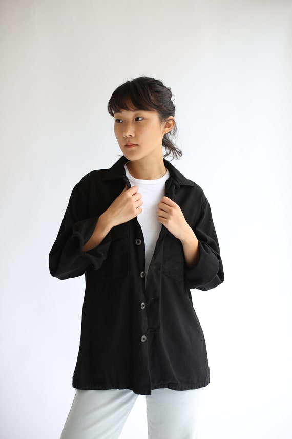 Vintage Black Cotton Overshirt | Work Shirt | Long