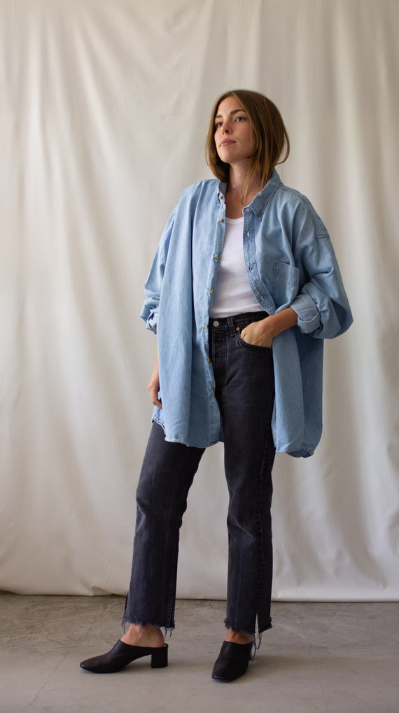 Vintage Light Denim Artist Shirt | 90s Pale Blue O