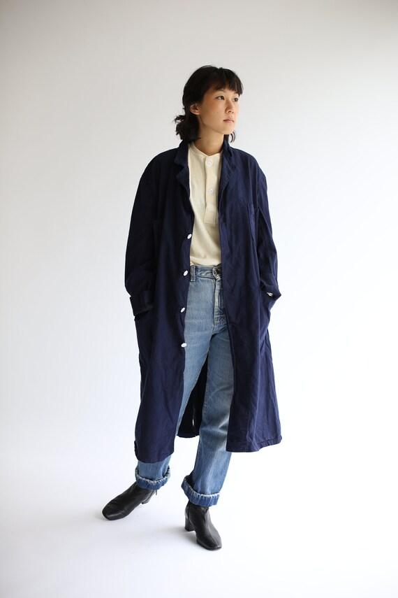 Vintage Navy Blue Shop Coat | Overdye Chore Trench
