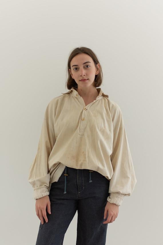 Antique Cream Cotton Peasant Tunic | Poet Shirt Sm