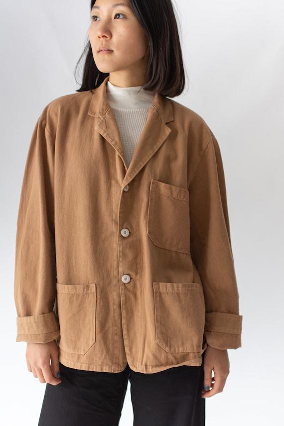 Vintage Almond Brown Overdye Chore Jacket   Cotton