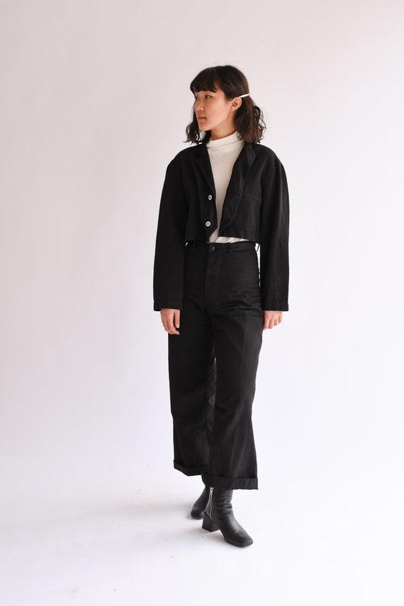 85e195253 Vintage Black Wide Crop Jacket | Boxy Short Chore Jacket | Overdye