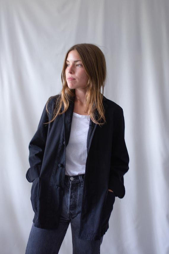 Vintage Black Knot Chore Jacket   Cotton French Wo