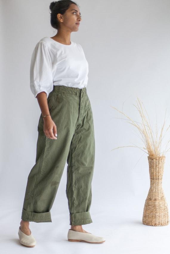af5104a097342 Vintage 26 27 28 29 30 Waist Olive Green Field Trouser 100% | Etsy