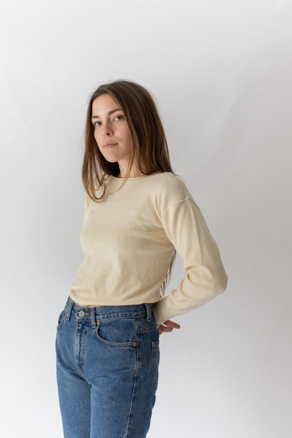 Vintage Butter Cream Ribbed Thermal | Wool Cotton